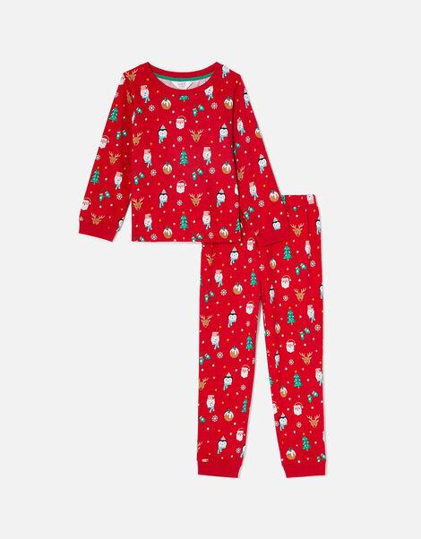 Girls Christmas Print PJ Set Red, Red (RED), large