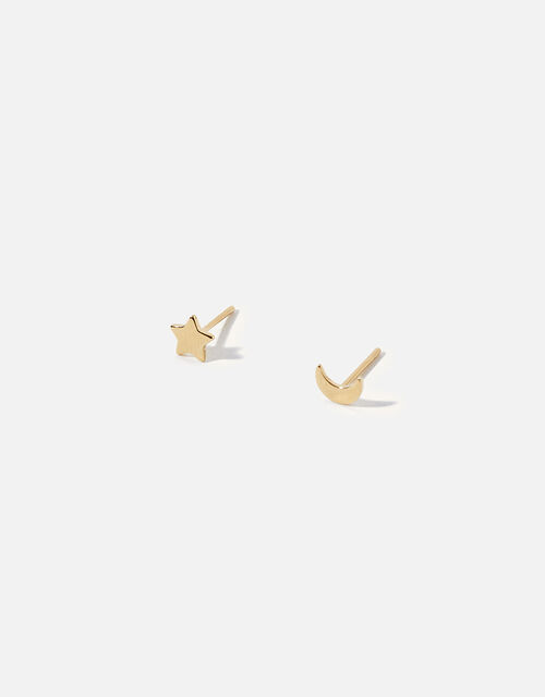 Gold-Plated Star and Moon Stud Earrings, , large
