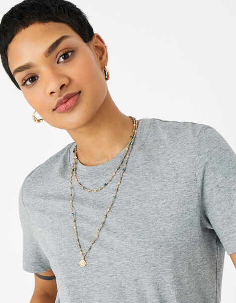 Layered Facet Coin Rope Necklace, , large