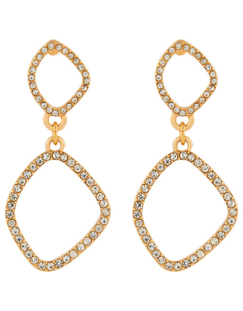 Pavé Organic Oval Drop Earrings, , large