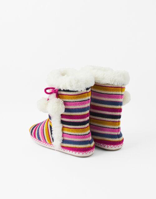 Stripe Knit Slipper Boots, Multi (BRIGHTS-MULTI), large