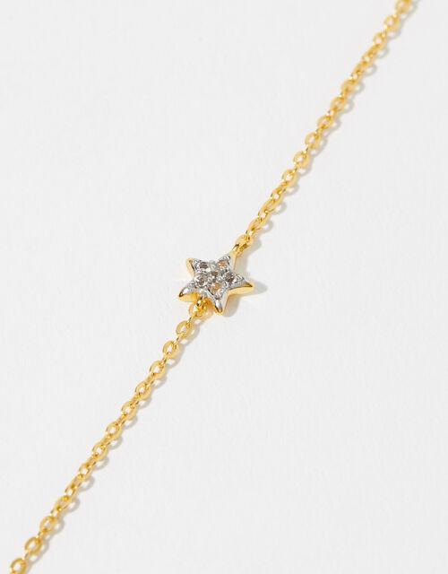 Gold Vermeil White Topaz Star Bracelet, , large