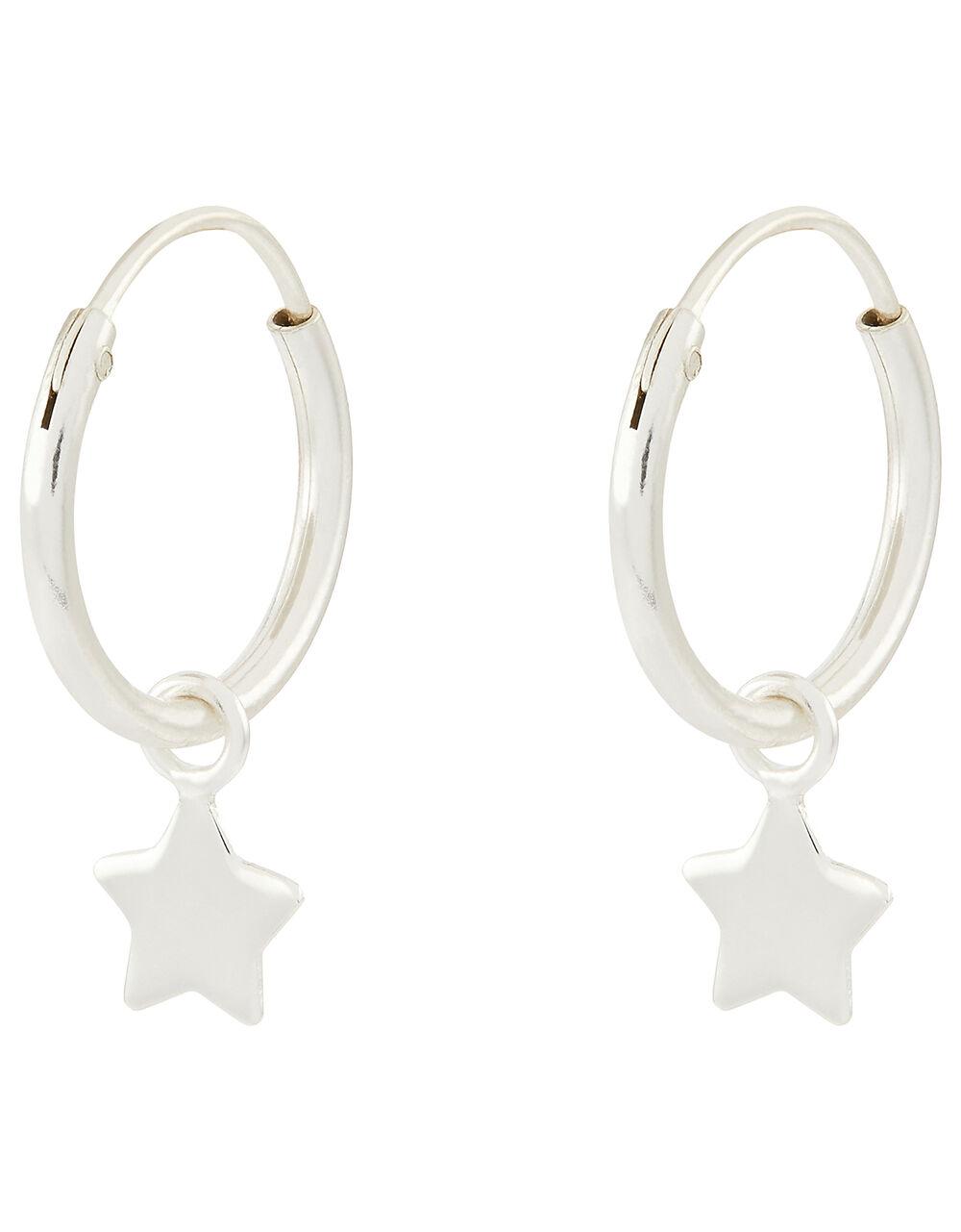 Sterling Silver Star Huggie Hoop Earrings, , large