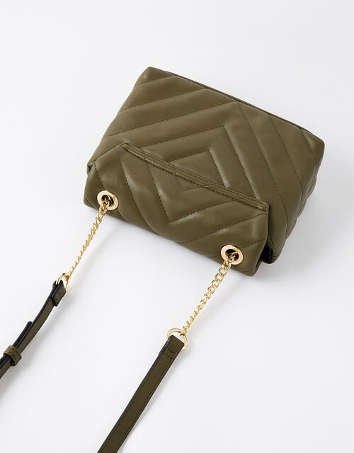 Mia Quilted Cross-Body Bag, Green (KHAKI), large