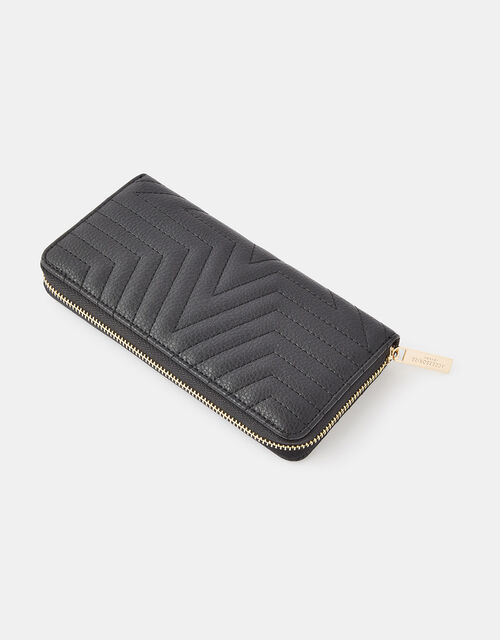 Quilted Star Zip-Around Wallet, Black (BLACK), large