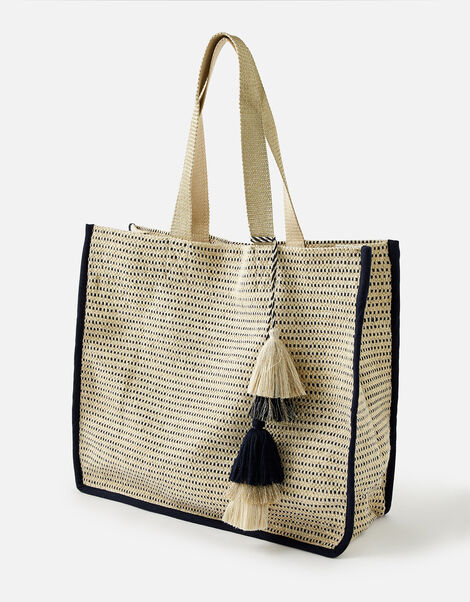 Woven Metallic Slouch Tote Bag, , large