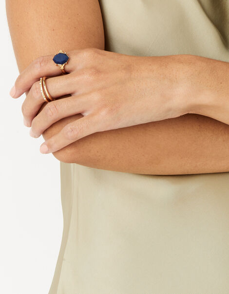 Midnight Sky Delicate Stone Ring Blue, Blue (NAVY), large