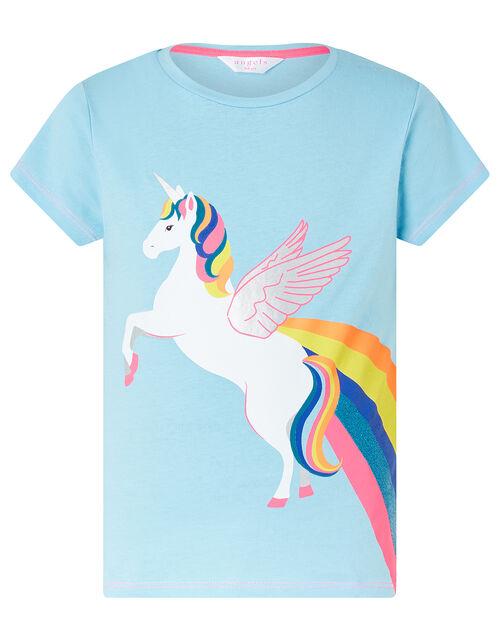 Retro Unicorn T-Shirt in Cotton Jersey, Blue (AQUA), large