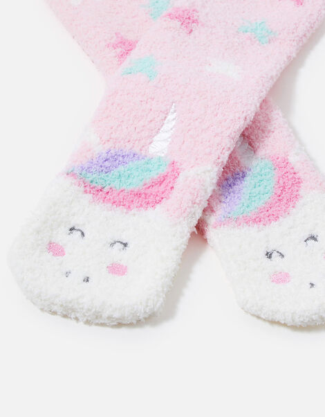 Girls Unicorn Slipper Socks Pink, Pink (PINK), large