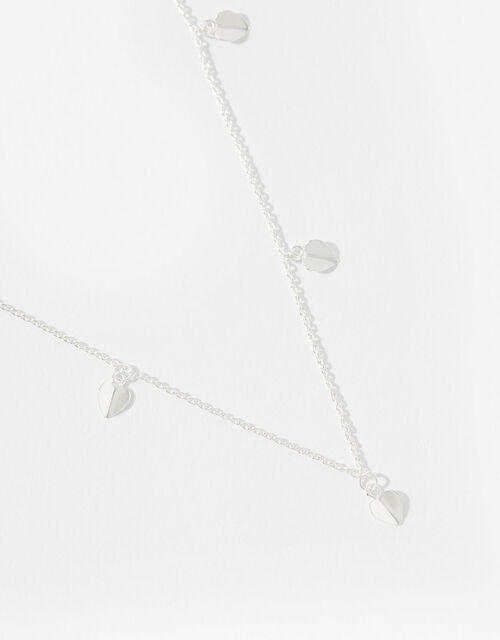 Sterling Silver Heart Station Necklace, , large