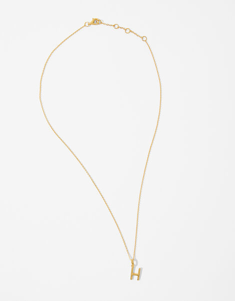 Gold Vermeil Initial Pendant Necklace - H, , large