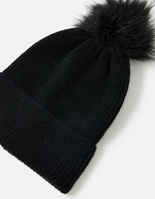 Knit Pom-Pom Beanie with Recycled Fabric, Black (BLACK), large