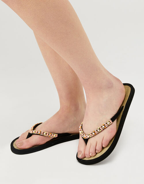 Beaded Seagrass Flip-Flops, Black (BLACK), large