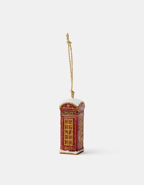 Sparkle Telephone Box Hanging Decoration, , large