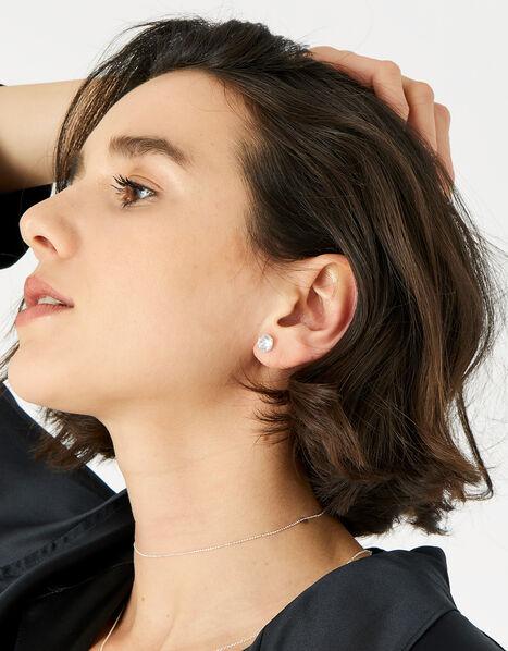 Sterling Silver Medium Crystal Stud Earrings, , large