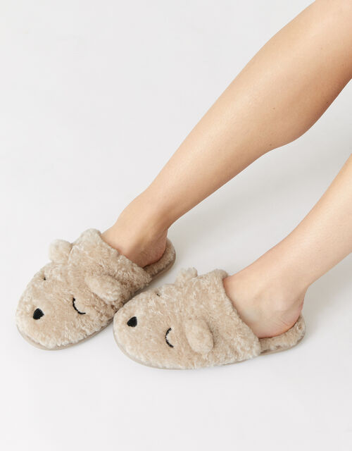 Teddy Bear Fluffy Slippers, Mink (MINK), large