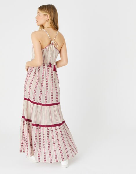 Burgundy Print Tiered Maxi Dress Red, Red (BURGUNDY), large