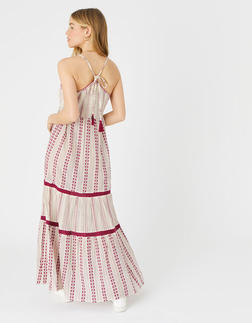 Burgundy Print Tiered Maxi Dress, Red (BURGUNDY), large