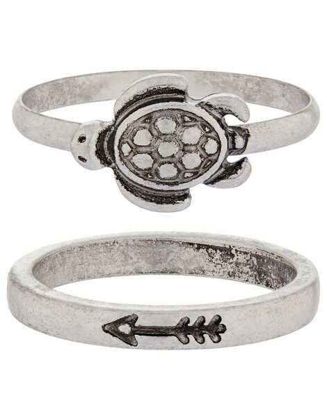 Tilly Turtle Ring Set Silver, Silver (SILVER), large