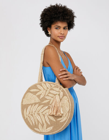Leila Round Raffia Shoulder Bag, , large