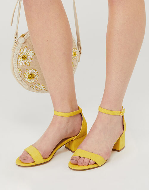 Block Heel Sandals, Yellow (YELLOW), large