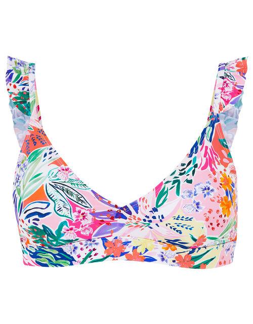 Bold Floral Frill Strap Bikini Top, Multi (BRIGHTS-MULTI), large