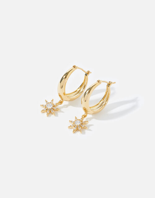Gold-Plated Chunky Sparkle Drop Hoops, , large