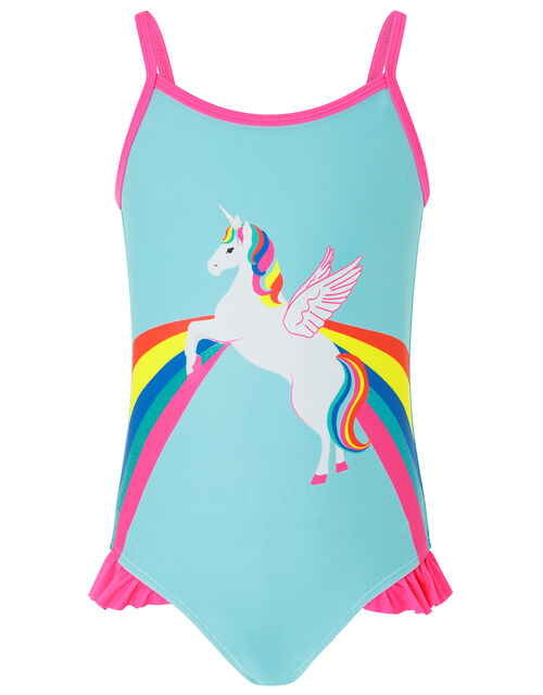 Retro Placement Unicorn Printed Swimsuit, Multi (BRIGHTS-MULTI), large