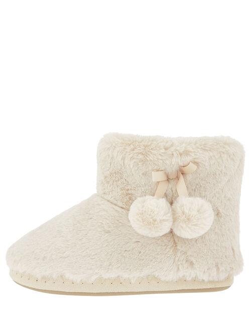 Fluffy Pom-Pom Slipper Boots, Cream (CREAM), large