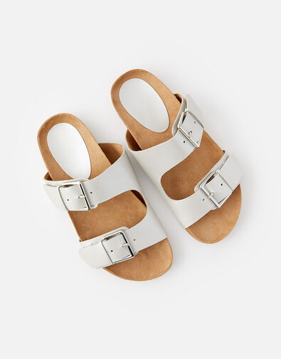 Buckle Footbed Leather Sandals  Silver, Silver (SILVER), large