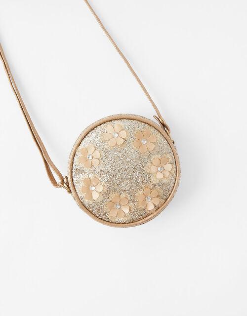 Glitter Flower Round Cross-Body Bag, , large