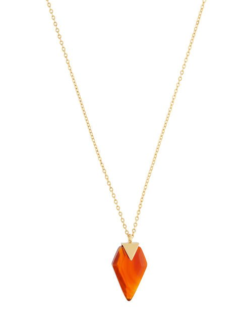 Healing Stones Gold-Plated Carnelian Necklace, , large