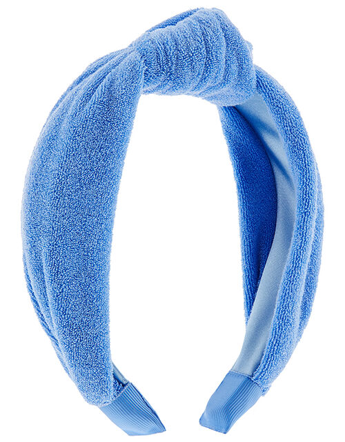 Wide Knot Towelling Headband, Blue (BLUE), large