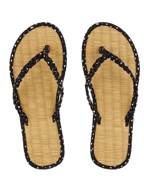 Plaited Spot Seagrass Flip Flops, Black (BLACK), large
