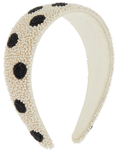 Beaded Polka Dot Wide Headband, , large