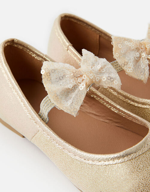 Sequin Bow Ballerina Flats, Gold (GOLD), large