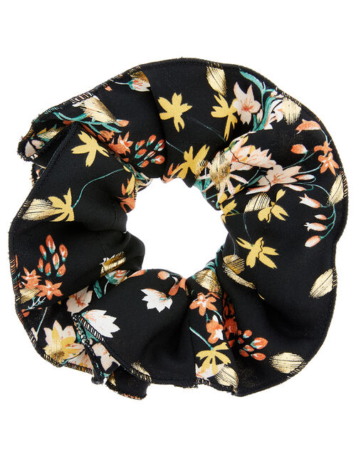 Oversized Floral Hair Scrunchie, , large
