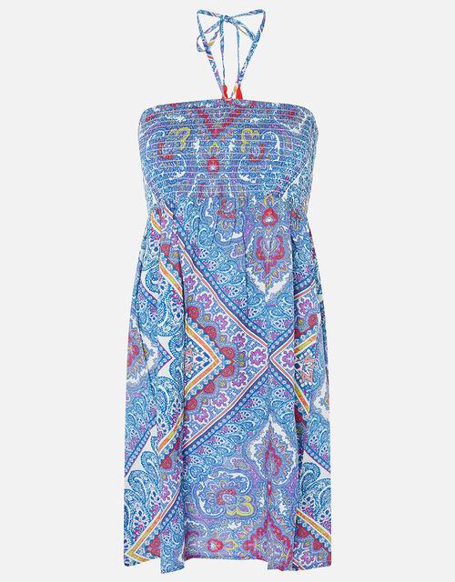 Kerala Scarf Print Bandeau Dress, Blue (BLUE), large