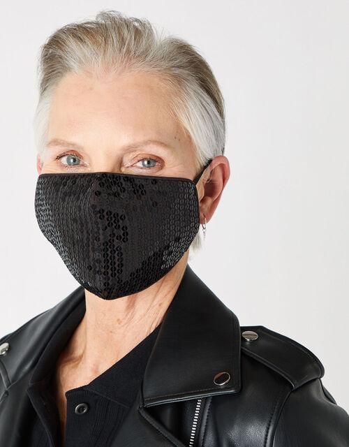 Sequin Sparkle Face Covering, Black (BLACK), large