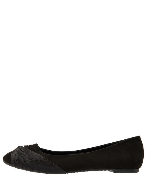 Twist Ballerina Flat Shoes, Black (BLACK), large