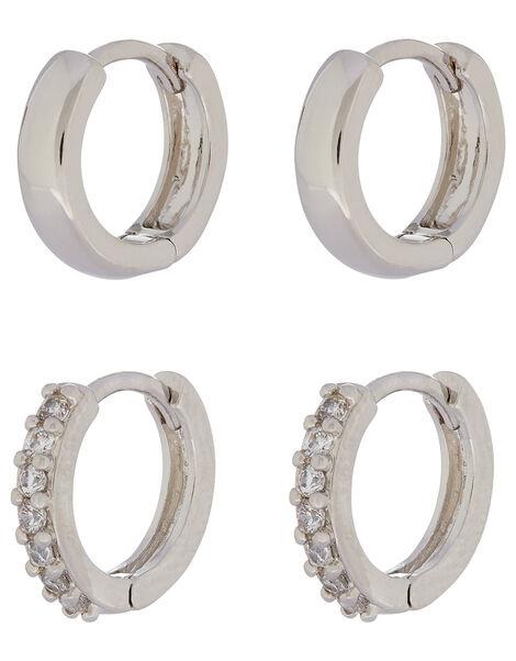 Platinum-Plated Plain and Sparkle Hoop Set, , large