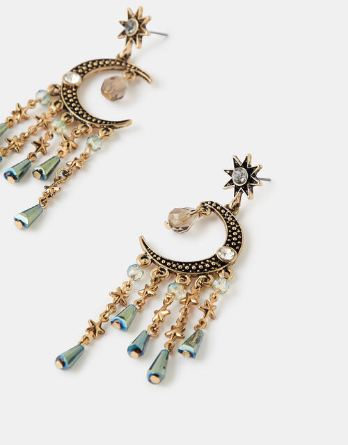 Moon and Star Bead Drop Earrings, , large