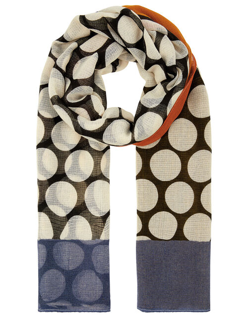 Large Polka-Dot Print Scarf, , large