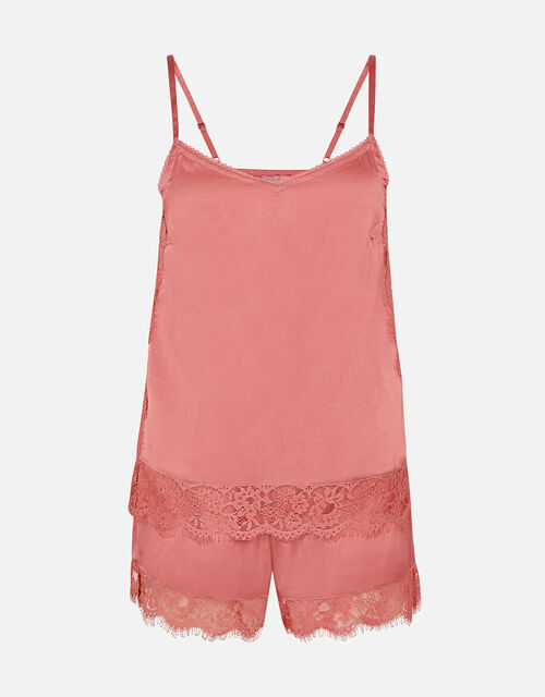 Lace and Satin PJ Set, Pink (PALE PINK), large