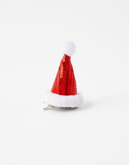 Sequin Santa Hat Hair Clip, , large