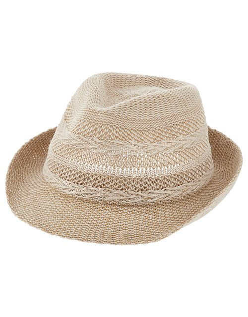 Chevron Packable Trilby Hat, Natural (NATURAL), large