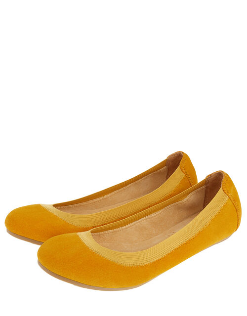 Suede Elasticated Ballerina Flats, Yellow (YELLOW), large