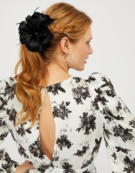 Abigail Net Bow Hair Clip Black, Black (BLACK), large