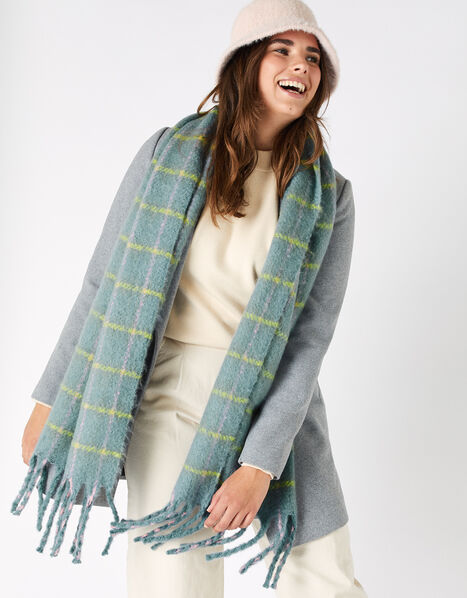 Sophie Brushed Check Blanket Scarf, , large