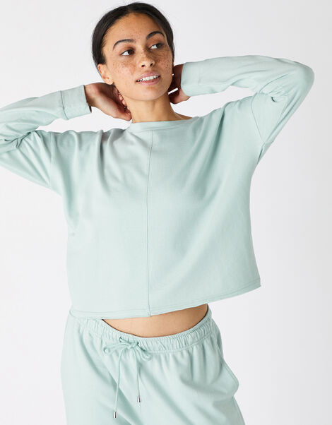 Oversized Cropped Sweatshirt Green, Green (LIGHT GREEN), large